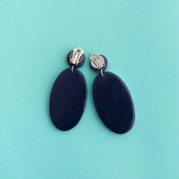 Navy Marble Artisan Disc Drop Earrings