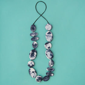 Navy Marble Artisan Long Necklace