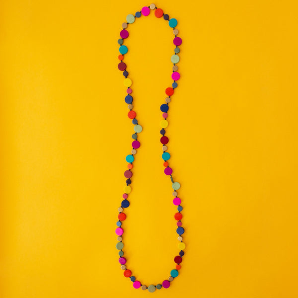 Smartie Long Single Strand Wood Necklace