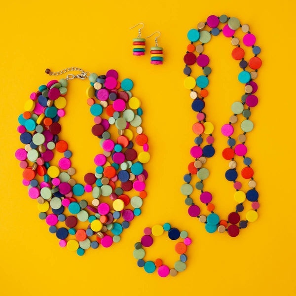 Smartie Multi Strand Wood Necklace
