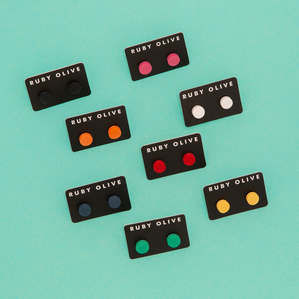 Everyday Flat Stud Earrings (8 Colours Avail)