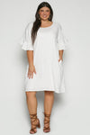 Ruffle Sleeve Shift Dress in White