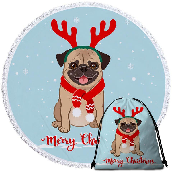 Christmas Pug Beach Towel