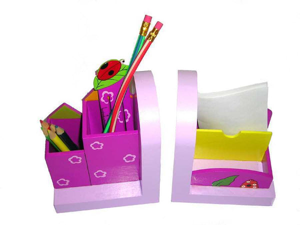 Purple bookend & stationary