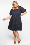 Sabre Puff Sleeve Dress in Navy
