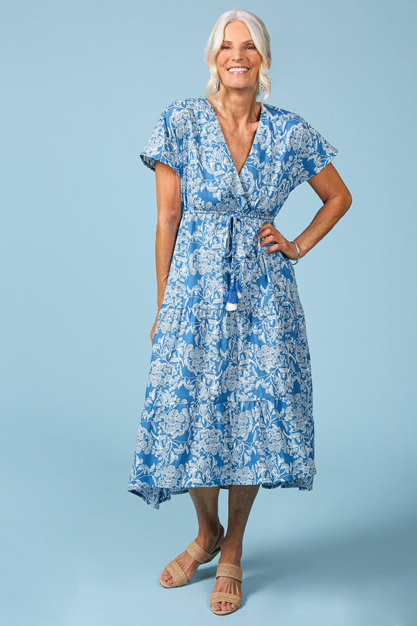 Shari V-Neck Dress in Ocean Wattle