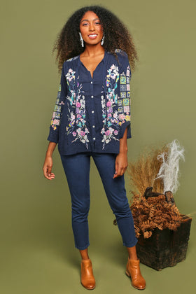 Sianne Embroidered Top in Navy