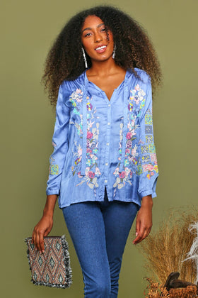 Sianne Embroidered Top in Sky Blue