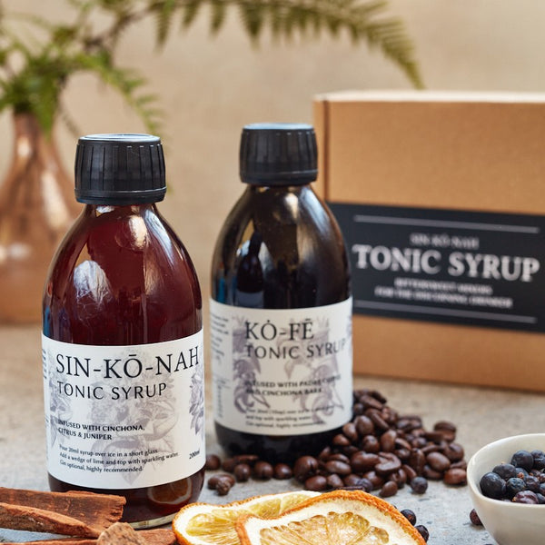 Twin Pack: kȯ-fē & sin-kō-nah tonic syrup 200ml