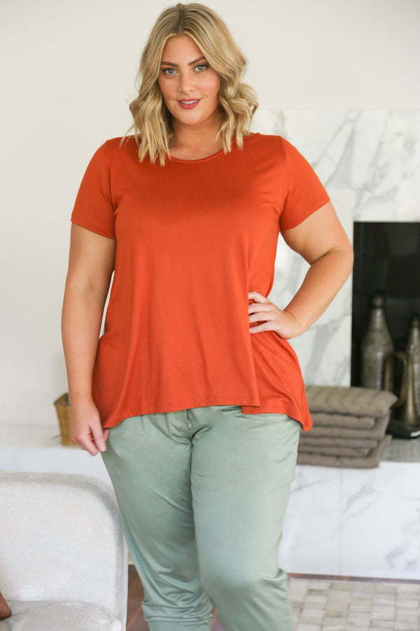 Swing Tee in Rosette Orange