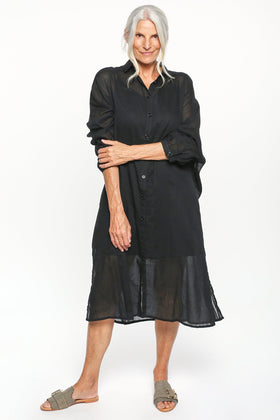 Talina Collared Shirt Dress in Black