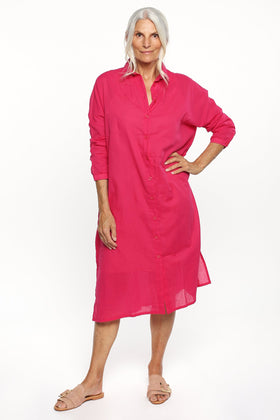 Talina Collared Shirt Dress in Pink