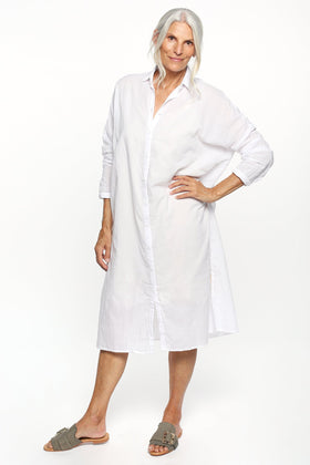 Talina Collared Shirt Dress in White