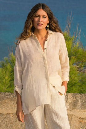 Talula Button Down Top in Cream