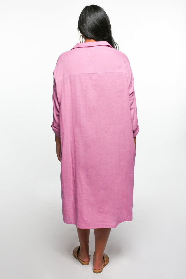 Talula Button Down Dress in Light Mauve