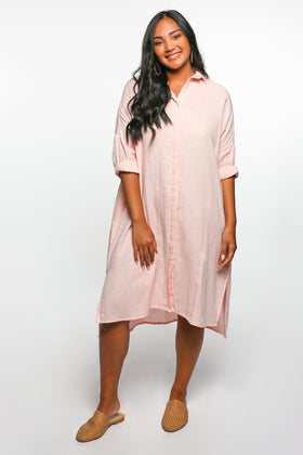 Talula Button Down Dress in Blush Pink