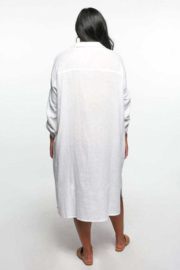 Talula Button Down Dress in White
