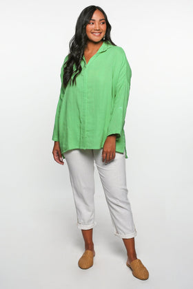 Talula Button Down Top in Green