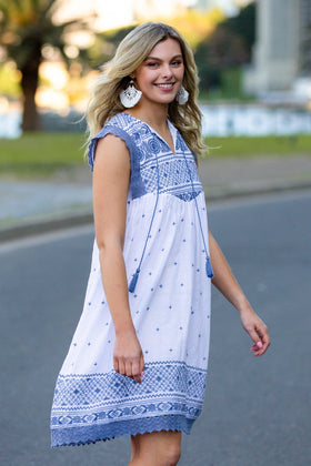 Tomika Embroidered Dress in Mykonos