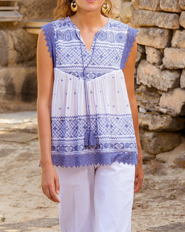 Tomika Embroidered Top in Mykonos
