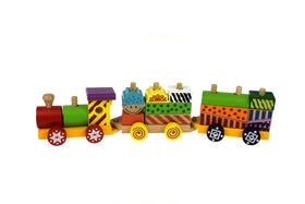 Colourful wooden block train