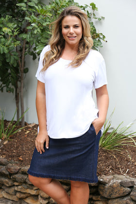 Adrift Denim Skirt in Navy
