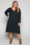 A-line Long Sleeve Dress in Navy
