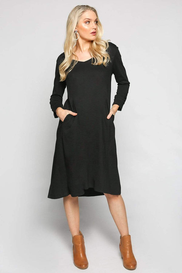 A-line Long Sleeve Dress in Black