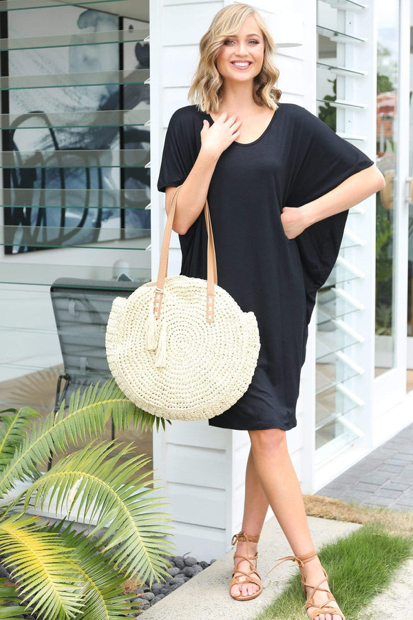 Batwing Sleeve Dress in Black
