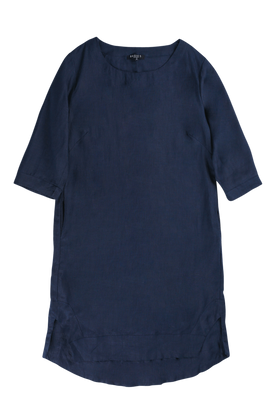 Boatneck Shift Dress in Navy