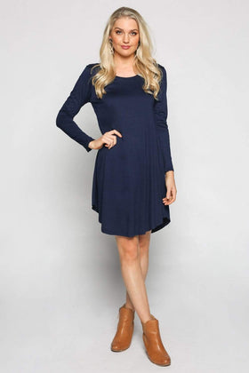 Long Sleeve Swing Dress in Navy
