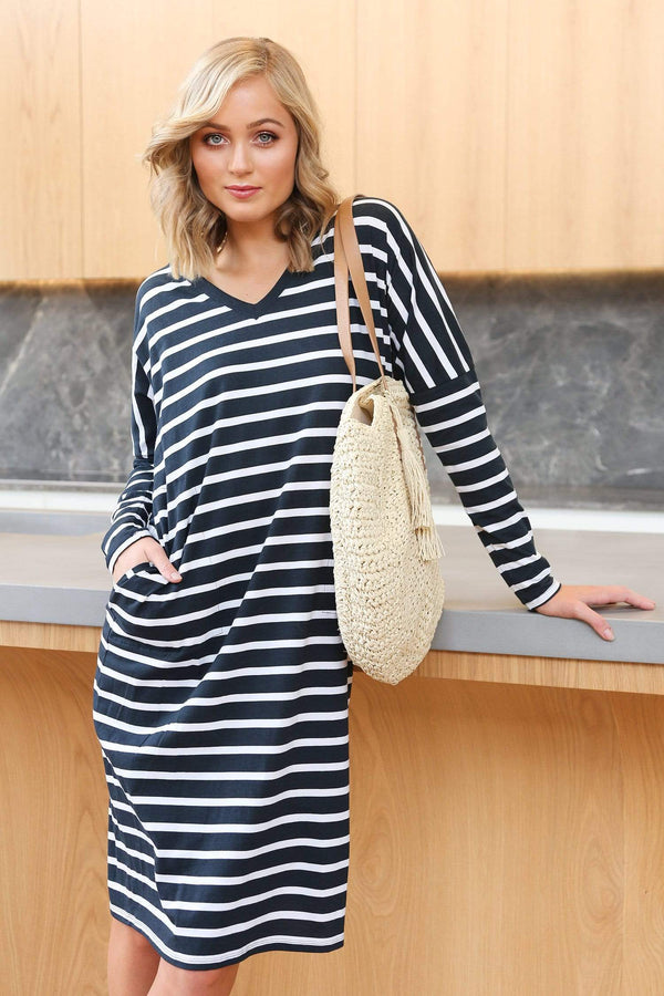 Relaxed Tee Dress in Nautical Stripe