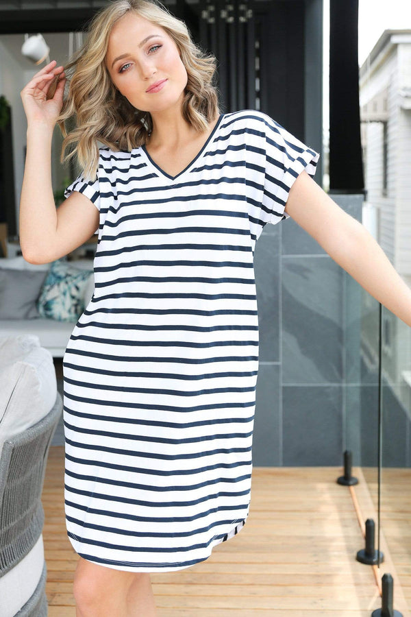 Rolled Sleeve Dress in French Stripe