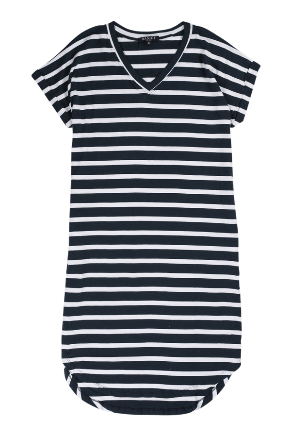 Rolled Sleeve Dress in Nautical Stripe