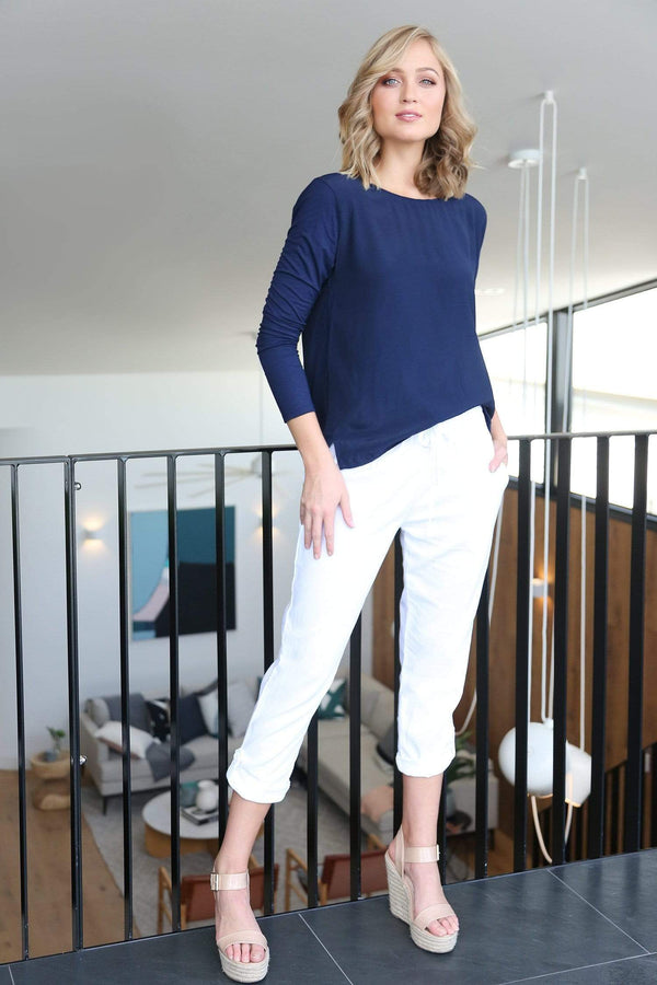 Rolled Cuff Pant in White