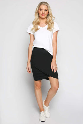 Wrap Stretch Skirt in Black