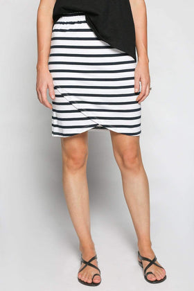 Wrap Stretch Skirt in French Stripe