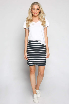 Wrap Stretch Skirt in Nautical Stripe