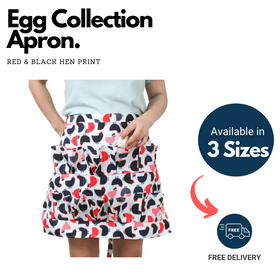 Simpli Egg Collection Apron - Red & Black Hen Print