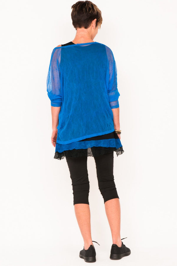 Donna Mesh Boxy Top - Cobalt - One Size