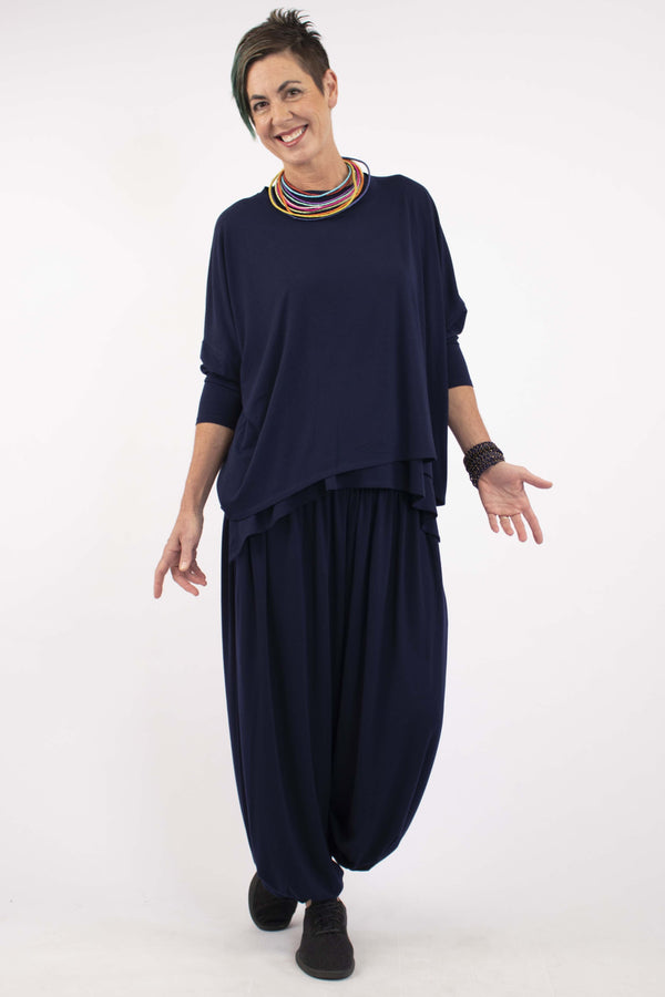 Doris Viscose Boxy Top - Midnight Blue - One Size