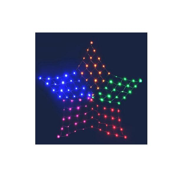 Christmas Lights Motif Led Star Net Waterproof Outdoor Colourful