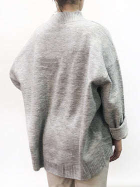 Oversized Funnel Neck Sweater Silver