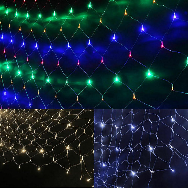 200 Led Fairy String Lights Net Mesh Curtain Xmas Wedding Party Decor Cool White
