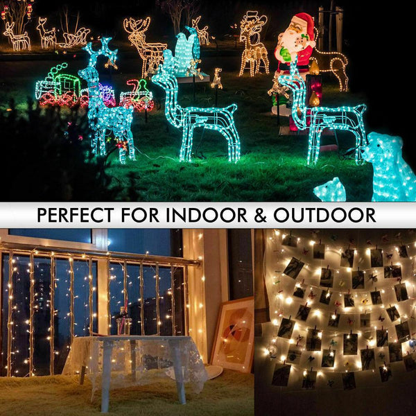 200 Led Fairy String Lights Net Mesh Curtain Xmas Wedding Party Decor Warm White