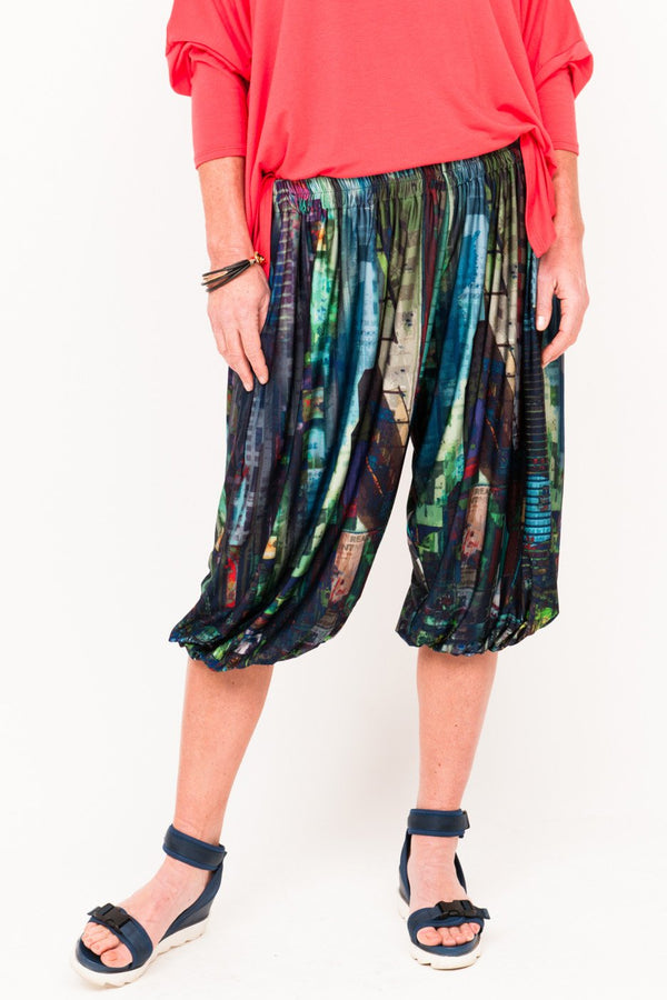 Phyllis Bloomin Active Pants - Petrol City Skyline - One Size