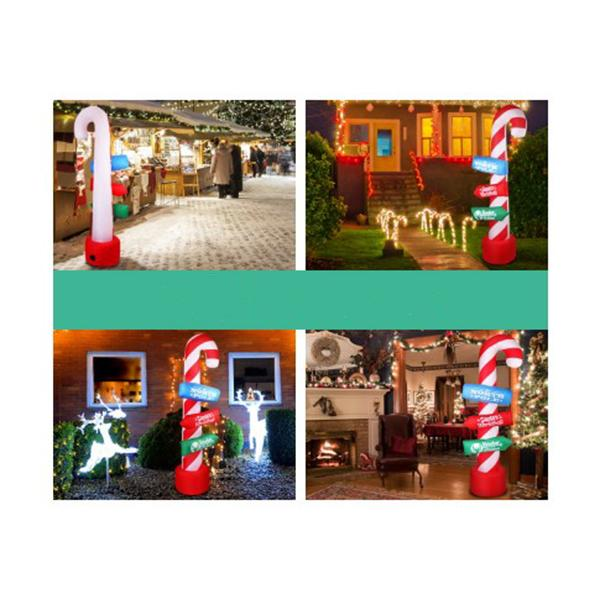2M Christmas Inflatable Santa Guide Candy Pole Xmas Decor Led