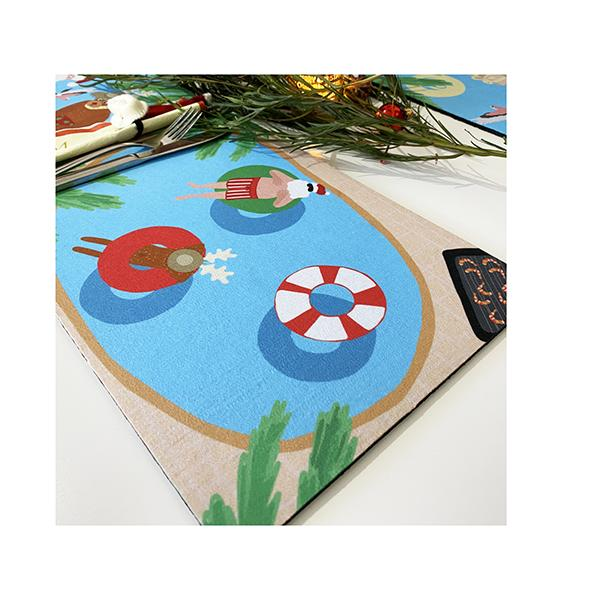Christmas Pool Recycled Rubber Placemat Mousepad 24X34Cm