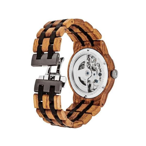 Mens Dual Wheel Automatic Ambila Wood Watch