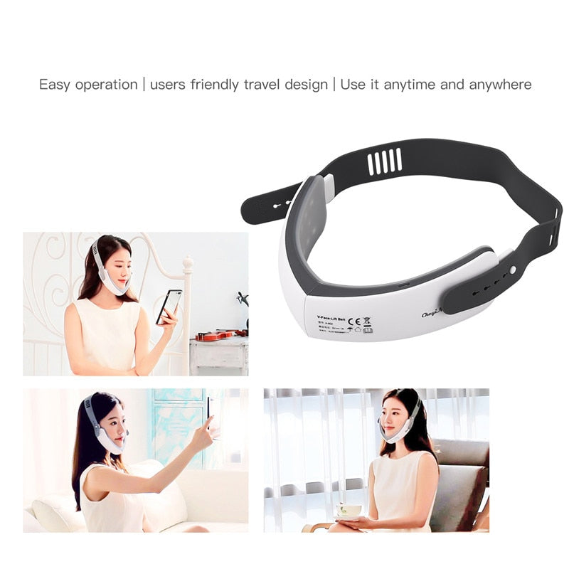 LED Photon Therapy V-Shape Slimming Face Massager Vibration Electric Facial Massage Skin Lifting Tightening Anti-Wrinkles Beauty - Hye Beauty